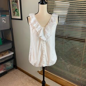 Loft white sleeveless blouse with ruffle